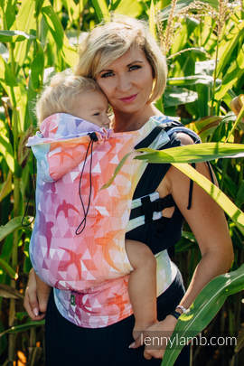 Ergonomic Carrier, Baby Size, jacquard weave 100% cotton - SWALLOWS RAINBOW LIGHT - Second Generation