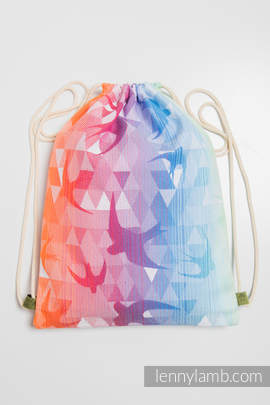 Sackpack made of wrap fabric (100% cotton) - SWALLOWS RAINBOW LIGHT - standard size 32cmx43cm