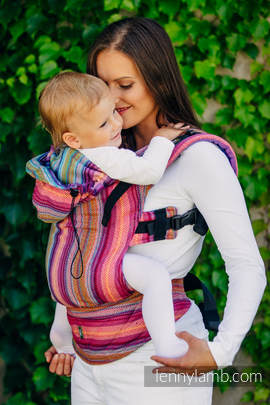 Ergonomic Carrier, Baby Size, herringbone weave 100% cotton - wrap conversion from LITTLE HERRINGBONE RASPBERRY GARDEN - Second Generation