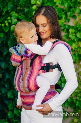 Ergonomic Carrier, Toddler Size, herringbone weave 100% cotton - wrap conversion from LITTLE HERRINGBONE RASPBERRY GARDEN - Second Generation