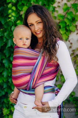 Baby Wrap, Herringbone Weave (100% cotton) - LITTLE HERRINGBONE RASPBERRY GARDEN - size XL