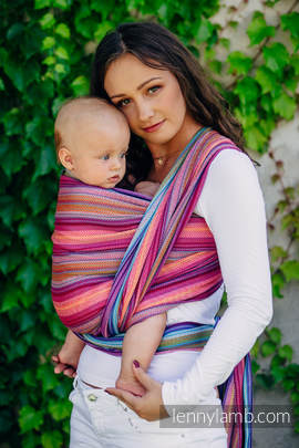 Baby Wrap, Herringbone Weave (100% cotton) - LITTLE HERRINGBONE RASPBERRY GARDEN - size XS