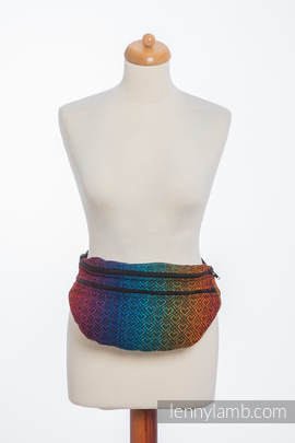 Waist Bag made of woven fabric, size large (100% cotton) - BIG LOVE RAINBOW DARK (grade B)