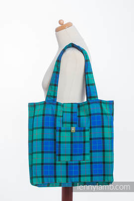Shoulder bag made of wrap fabric (100% cotton) - COUNTRYSIDE PLAID - standard size 37cmx37cm