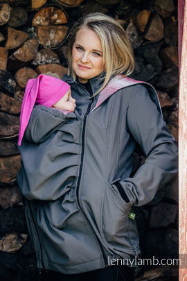 Babywearing Coat - Softshell - Charcoal with Little Herringbone Elegance - size 4XL