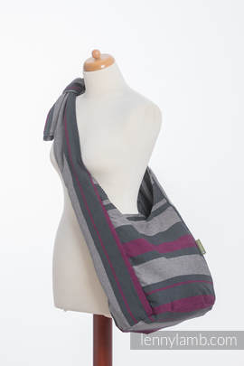 Hobo Bag made of woven fabric, 100% cotton - SMOKY - FUCHSIA