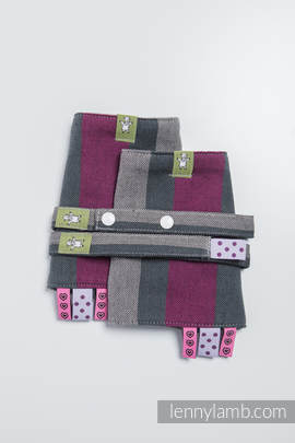 Drool Pads & Reach Straps Set, (100% cotton) - SMOKY - FUCHSIA