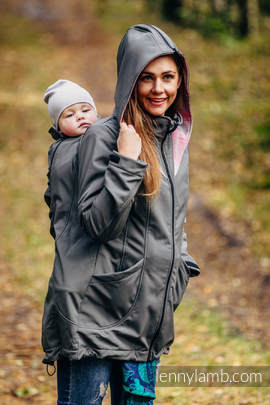 Babywearing Coat - Softshell - Charcoal with Little Herringbone Elegance - size XL