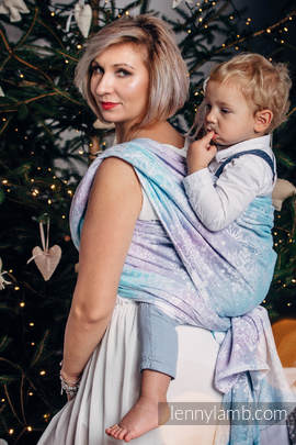 Baby Wrap, Jacquard Weave (96% cotton, 4% metallised yarn) - GLITTERING SNOW QUEEN - size XL