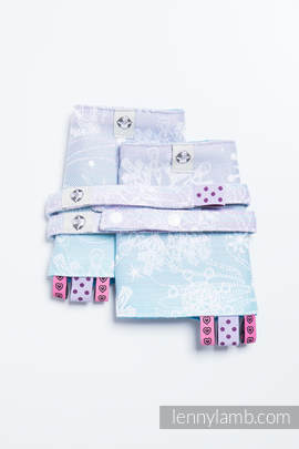 Drool Pads & Reach Straps Set, (96% cotton, 4% metallised yarn) - GLITTERING SNOW QUEEN