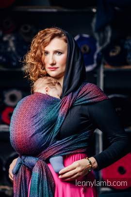 Baby Wrap, Jacquard Weave (60% combed cotton, 28% Merino wool, 8% silk, 4% cashmere) - BIG LOVE - BLACK OPAL - size M