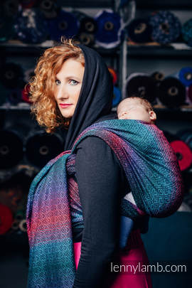 Baby Wrap, Jacquard Weave (60% combed cotton, 28% Merino wool, 8% silk, 4% cashmere) - BIG LOVE - BLACK OPAL - size S