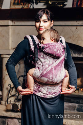 Ergonomic Carrier, Baby Size, jacquard weave 60% combed cotton, 40% Meriono wool - wrap conversion from GALLEONS BURGUNDY & CREAM, Second Generation