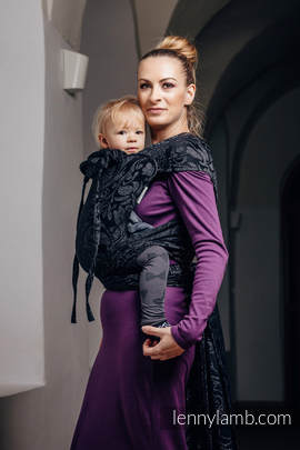 WRAP-TAI carrier Toddler with hood/ jacquard twill / 96% cotton, 4% metallised yarn / TWISTED LEAVES METAL & DUST