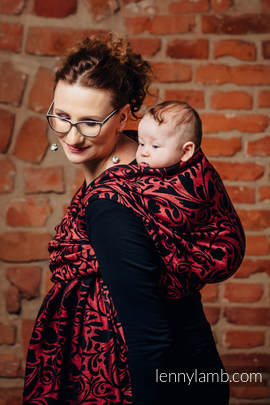 Baby Wrap, Jacquard Weave (60% cotton 28% linen 12% tussah silk) - TWISTED LEAVES - PINCH OF CHILLI - size L
