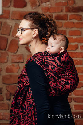 Baby Wrap, Jacquard Weave (60% cotton 28% linen 12% tussah silk) - TWISTED LEAVES - PINCH OF CHILLI - size S