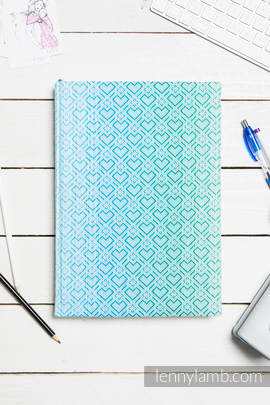 Calendar 2018 with jacquard fabric hard cover - size A4 - BIG LOVE - ICE MINT