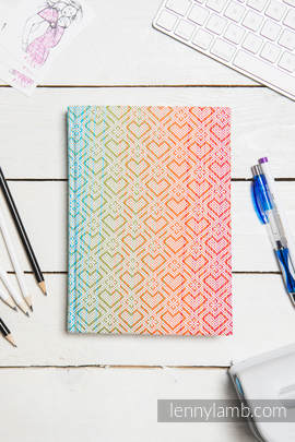Calendar 2018 with jacquard fabric hard cover - size A4 - BIG LOVE - RAINBOW