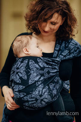 Baby Wrap, Jacquard Weave (96% cotton, 4% metallised yarn) - QUEEN OF THE NIGHT - size L