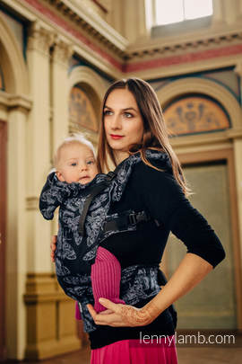 Ergonomic Carrier, Baby Size, jacquard weave, 96% cotton, 4% metallised yarn - QUEEN OF THE NIGHT - Second Generation