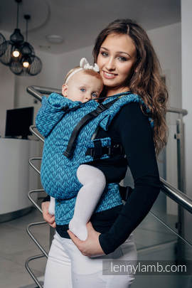 Ergonomic Carrier, Baby Size, jacquard weave 100% cotton - COULTER NAVY BLUE & TURQUOISE - Second Generation