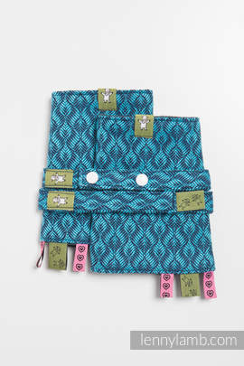 Drool Pads & Reach Straps Set, (100% cotton) - COULTER NAVY BLUE & TURQUOISE