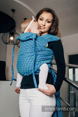 WRAP-TAI carrier Mini with hood/ jacquard twill / 100% cotton / COULTER NAVY BLUE & TURQUOISE