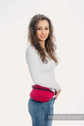 Waist Bag made of woven fabric, (100% cotton) - I LOVE YOU