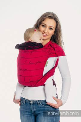 WRAP-TAI carrier Toddler with hood/ jacquard twill / 100% cotton / I LOVE YOU