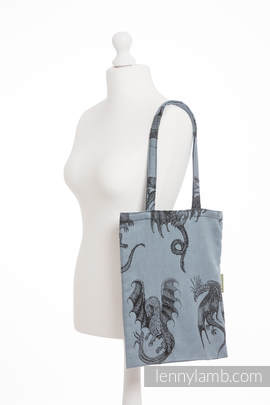 Shopping bag made of wrap fabric (100% cotton) - DRAGON STEEL BLUE