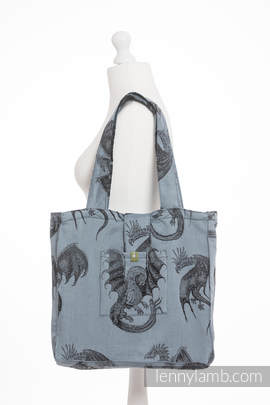 Shoulder bag made of wrap fabric (100% cotton) - DRAGON STEEL BLUE - standard size 37cmx37cm
