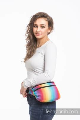 Waist Bag made of woven fabric, size large (82% cotton, 18% bamboo viscose) - LITTLE HERRINGBONE RAINBOW LIGHT