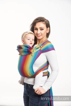 WRAP-TAI carrier Mini with hood/ herringbone twill / 100% cotton / LITTLE HERRINGBONE RAINBOW NAVY BLUE