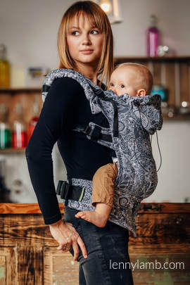 Ergonomic Carrier, Toddler Size, jacquard weave 100% cotton - wrap conversion from WILD WINE GREY & WHITE - Second Generation
