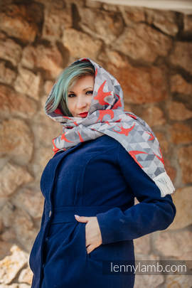 LennyScarf - 42% cotton, 34 % merino wool,  9 % silk, 15% cashmere - Swallows Grey & Red