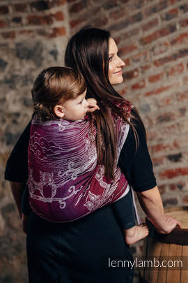 Baby Wrap, Jacquard Weave (100% cotton) - BUBO OWLS - LOST IN BORDEAUX - size L