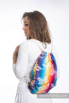 new Sackpack made of wrap fabric (100% cotton) - BUTTERFLY RAINBOW LIGHT -