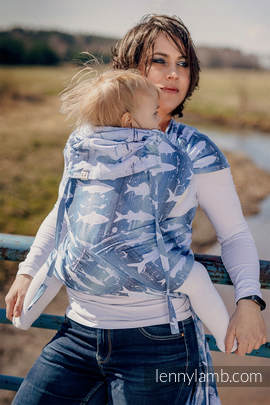 WRAP-TAI carrier Toddler with hood/ jacquard twill / 100% cotton / FISH'KA BIG BLUE
