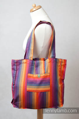 Shoulder bag made of wrap fabric (60% cotton, 40% bamboo) - SUNSET RAINBOW - standard size 37cmx37cm