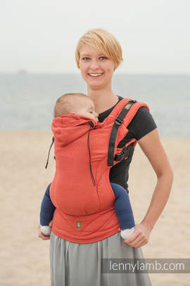 Ergonomic Carrier, Baby Size, diamond weave 100% cotton - wrap conversion from BURNT ORANGE DIAMOND - Second Generation